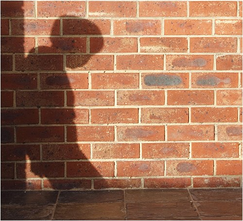 Stock image showing a person's shadow leaning against a brick wall.