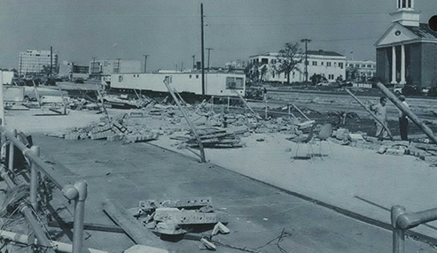 Hurricane Camille smashed into the Mississippi Gulf Coast on Sunday night, August 17, 1969. The Highway Patrol and the Chamber of Commerce quickly moved in house trailers to use as offices after the storm.