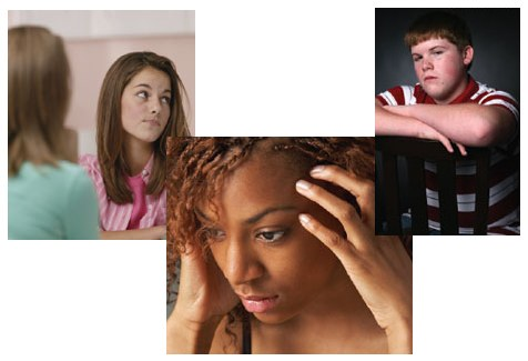 Stock image of various teenagers who are unhappy.