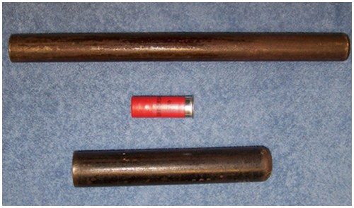 This handmade weapon does not appear threatening and does not resemble a firearm. It may present as a hidden danger because applied pressure could discharge the loaded shotgun shell. An unknown subject discarded this item at a driver's license checkpoint in Cottonwood, Alabama, in 2015.