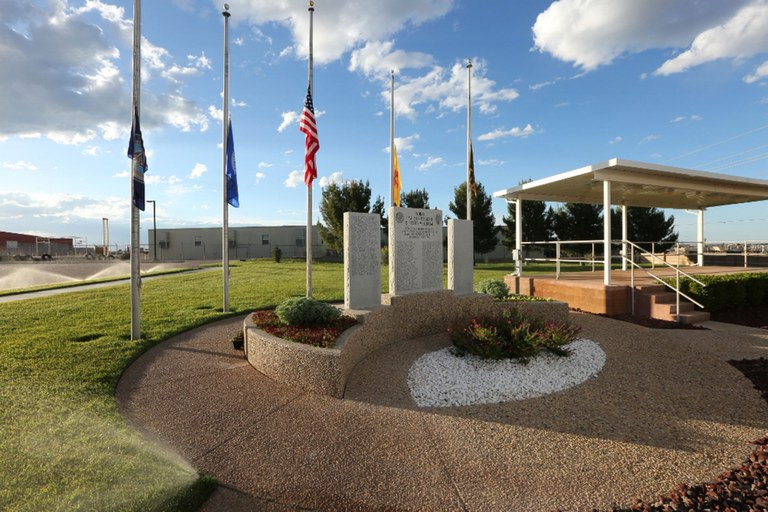 A photo of the entire Indian Country Law Enforcement Memorial at the U.S. Indian Police Academy in Artesia, New Mexico.