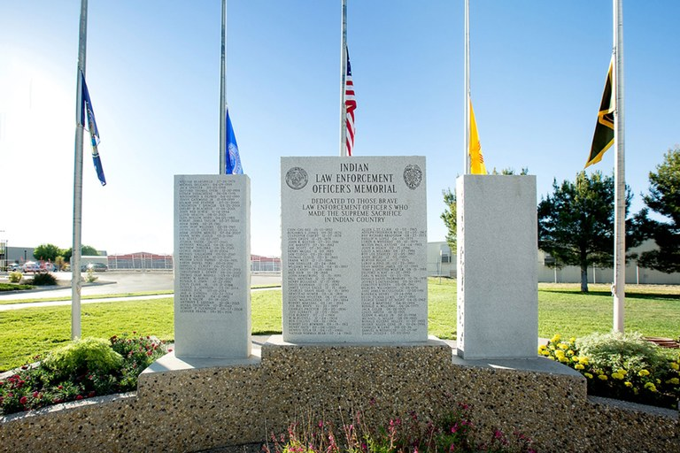 A photo of the names inscribed on the Indian Country Law Enforcement Memorial at the U.S. Indian Police Academy in Artesia, New Mexico.