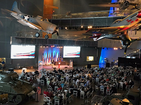 Captain Richard Phillips delivers the keynote address during the 2nd annual Gulf Coast INLETS dinner at The National WWII Museum in New Orleans, Louisiana.
