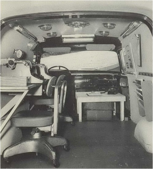 Archive photo of the interior of a mobile command vehicle from 1964