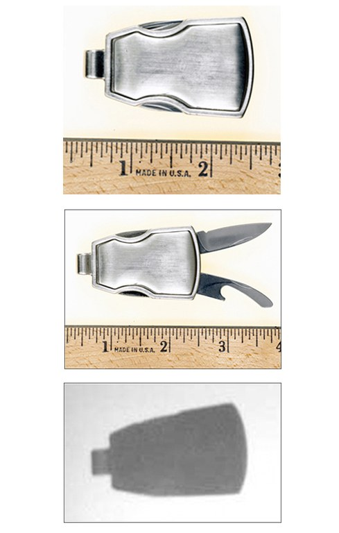 Law enforcement officers must be aware that offenders may attempt to use this item against them. This weapon appears to be a key chain, but houses a blade and bottle opener.
