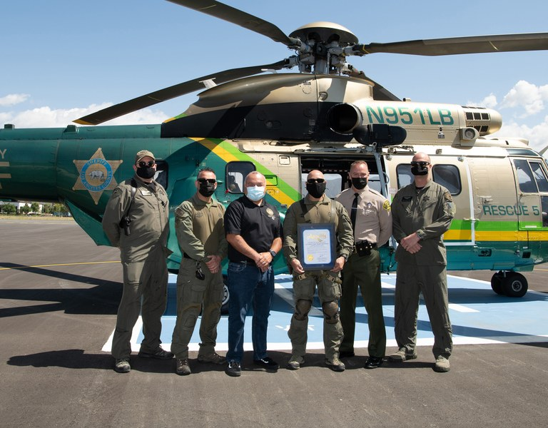 The Air Rescue 5 team with the Las Angeles County, Sheriff's Department.