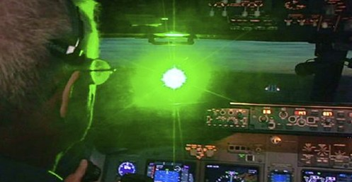 A laser strike as seen from inside the cockpit of an airplane.