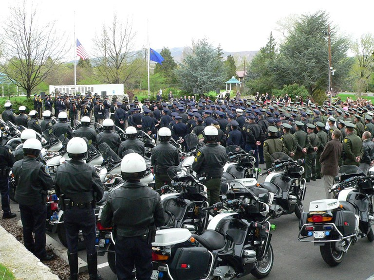A crowd of police officers at the James D. Hoff Peace Officer Memorial located in Reno, Nevada.