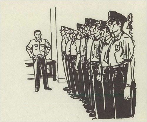 Sketch of law enforcement officers in the 1930s.
