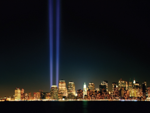 Light Beams from World Trade Center Site at Night