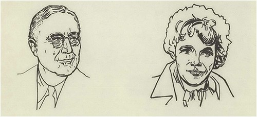 Sketch of President Roosevelt and Amelia Earhart, two key figures in the 1930s.