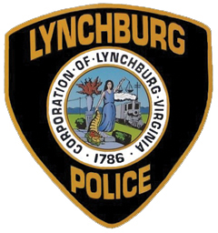 The City of Lynchburg, Virginia, was founded along the James River in 1786 by ferry operator John Lynch. The patch of its police department depicts a figure holding the scales of justice and a cornucopia, a symbol of nourishment and abundance. Behind the figure is a vase with growth, symbolizing plentiful water, and a train, signifying a transportation crossroads. The nearby Blue Ridge Mountains are in the background.