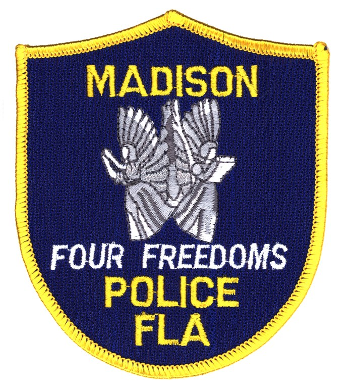 A scanned image of the Madison, Florida, Police Department's shoulder patch.