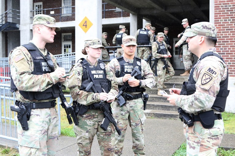 An image provided by the author of a meeting with military police.