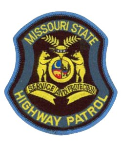"The Missouri State Highway Patrol's patch displays a replica of the state's official seal. The center shield features a bald eagle, a grizzly bear, and a crescent moon. Two more grizzly bears representing courage and strength stand on a scroll inscribed with the motto, ""Service and Protection."" The helmet illustrates state sovereignty, and the circular band and buckle symbolize the connection between the state and federal governments."