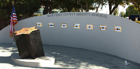 The Monterey County, California, Sheriff's Memorial features the names of eight deputies who died serving their community.