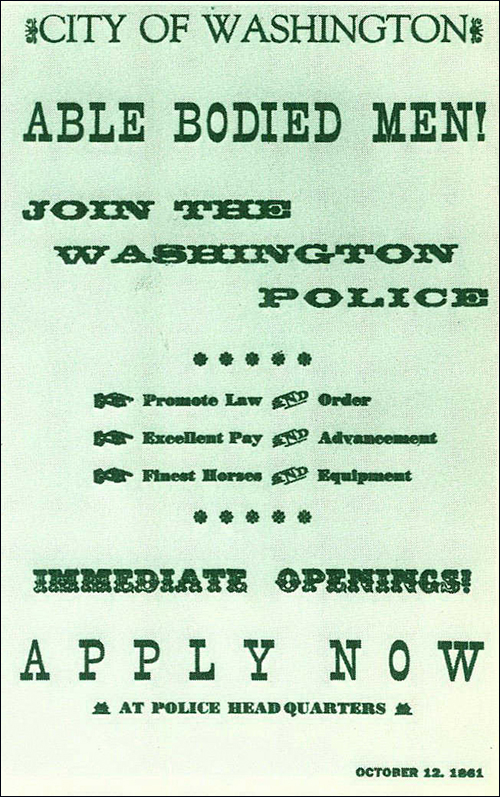 Depiction of a Metropolitan Police Department recruitment poster from 1861.