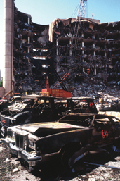 The Alfred P. Murrah Federal Building in Oklahoma City following the terrorist bombing on April 19, 1995.