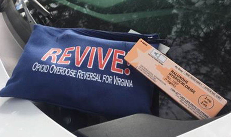 A photo provided by Deputy Chief Gallagher from the Virginia Beach, Virginia, Police Department of a naloxone kit.