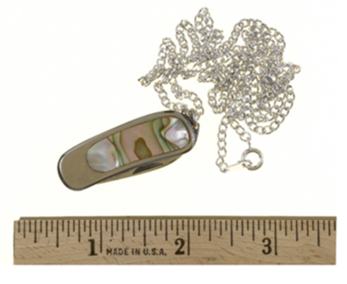 This stainless steel item has a decorative inlay and can be worn as a necklace or key chain. It actually has a knife inside and can pose a serious threat to law enforcement officers.