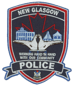 "The New Glasgow, Nova Scotia, Police Service is built upon the philosophy of community-based policing. The department's patch proudly indicates that its officers are ""working hand in hand with our community."" A set of hands support the town and its river port and complete the maple leaf, a symbol of Canada."