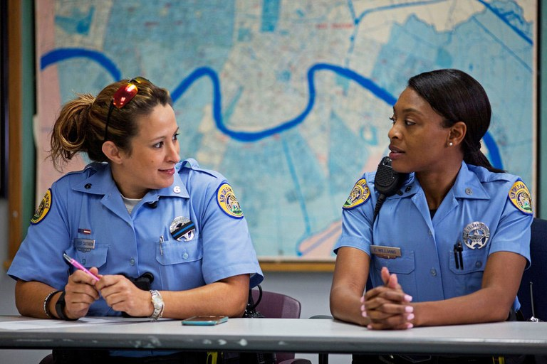 A photo of two New Orleans police officers attending EPIC training.