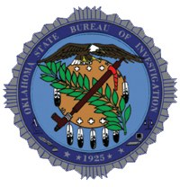 The Oklahoma State Bureau of Investigation (OSBI) patch depicts an Osage Indian warrior's shield crossed by a peace pipe and an olive branch, derived from the Oklahoma state flag. An eagle, symbolizing vigilance, stands atop the shield, and the microscope and scales of justice on either side represent criminal investigation and criminal justice. The OSBI's founding year is located beneath the seal.
