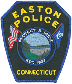 The patch of the Easton, Connecticut, Police Department depicts a vista featuring the Easton Reservoir and Easton Dam. The town is well-known for its large reservoirs and watershed areas, which provide drinking water to the state's largest city, Bridgeport, and its surrounding towns. The outdoor scene is flanked by the American flag on the left and the Connecticut state flag on the right. At the bottom is the year 1937, when the department was established.