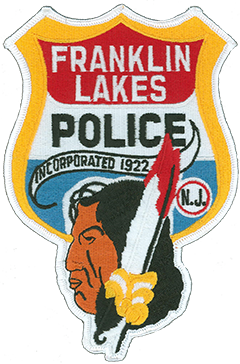 The borough of Franklin Lakes, New Jersey, was incorporated by the New Jersey Legislature in 1922 from portions of Franklin Township, the current township of Wyckoff. The patch of the Franklin Lakes Police Department was designed circa 1960 and has retained its original appearance. The upper portion is modeled after the shape of a traditional police officer's badge, its red, white, and blue background representing the American flag. The lower portion depicts a member of the Lenni Lenape American Indian tribe, who inhabited the region during its Dutch settlement in the mid-1600s.