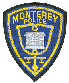 The patch of the Monterey, California, Police Department reflects the rich history and diverse culture of the city it serves. Located on central California's Pacific coast, the area surrounding Monterey first was explored by a Spanish expedition in 1769 and settled the following year. Following its independence in 1821, the city was ceded to Mexico, then acquired by the United States in 1846. The center of the patch depicts Colton Hall, where, on October 13, 1849, the state's first constitution was drafted and signed. The scales of justice at the bottom of the patch symbolize the Monterey Police Department's commitment to fair and unbiased administration of the law. The rope that surrounds the patch evokes both Monterey's maritime history and the vaqueros and cowboys who lived in the area when the city was incorporated in 1890.