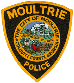The city of Moultrie, Georgia, was named after Revolutionary War General William Moultrie in 1859 and is the seat of government for Colquitt County. The patch of the Moultrie Police Department features the official city seal, depicting the historic Colquitt County Courthouse at the top and recognizing the area's agricultural heritage at the bottom. Each year, Moultrie hosts The Sunbelt Agriculture Exposition, the largest farm show in the United States. The black background and gold trim on the patch honors the school colors of Colquitt County High School, a source of community pride.