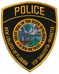 The Campus Police Department in Sarasota, Florida, proudly serves the New College of Florida and the University of South Florida Sarasota-Manatee. The two schools are located on Florida's Gulf Coast, 60 miles south of Tampa, and share campus law enforcement services for students, faculty, staff, and visitors. The Campus Police Department uniform patch prominently features the Great Seal of the State of Florida. Within the seal, a Seminole woman spreads hibiscus flowers by a shoreline near two Sabal palmettos, Florida's state tree, while in the distance a steamship sails toward rays of sunlight.