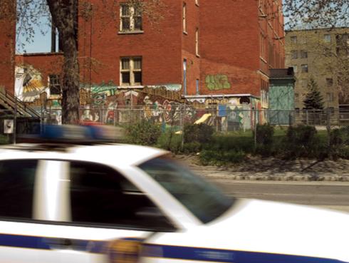 Patrol Car Driving in Neighborhood