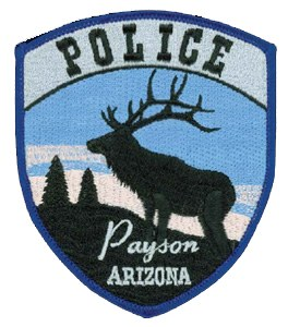 The Payson, Arizona, Police Department's patch depicts an elk against the pine tree-covered skyline of the Mogollon Rim, a stunning geographical wonder that stretches for 200 miles across central Arizona. A place of abundant wildlife and a plethora of outdoor activities, Payson sits in the heart of the Rim, which attracts visitors from all over the world to see its panoramic views.