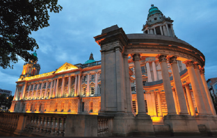 Depiction of the center of government building in Belfast.