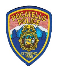 The background of the Pocatello, Idaho, Police Department patch features a depiction of the snow-topped mountains and trees surrounding the city, as well as the year the agency was established. The department's police badge, in the center of the patch, contains the state seal.