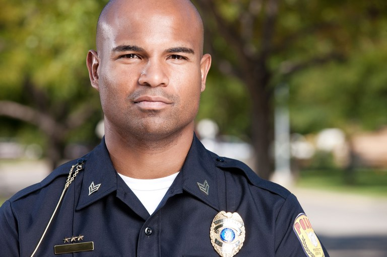 A stock image of a male police officer.