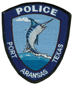 The patch of the Port Aransas, Texas, Police Department prominently features a marlin jumping from the waters of the nearby Gulf of Mexico, representing the city's popularity with avid sports fishermen. Beach tourists and college students on spring break also flock to Port Aransas annually, increasing the city's population of 3,500 to as much as 60,000 in the summer months.