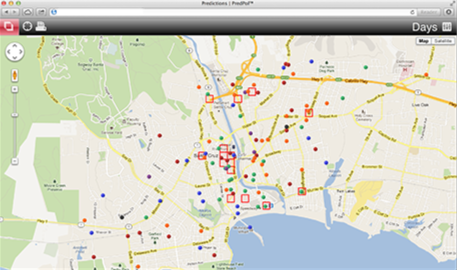 Map detailing predictive policing technology used by the Santa Cruz, California Police Department.