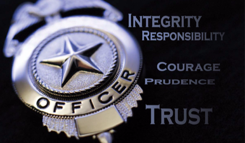A depiction of core values in law enforcement alongside a police badge.