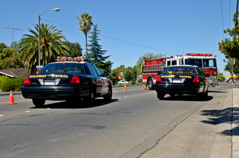 Police cars and a fire truck converge upon the scene of an incident.