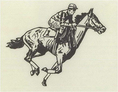 Sketch of a racehorse during the 1950s.