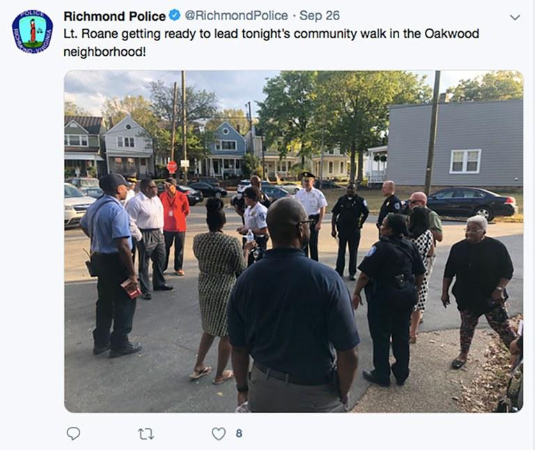 Richmond, Virginia, Police Department tweet picturing a Lieutenant preparing for a community walk.