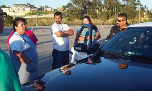 Santa Cruz Police Department Officer Talks to Community Members