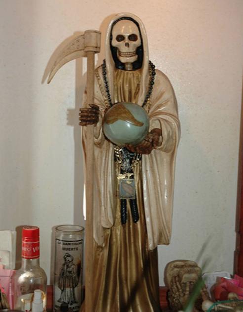 Santa Muerte Statue, White Cape