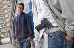 A depiction of gun violence on school premises.