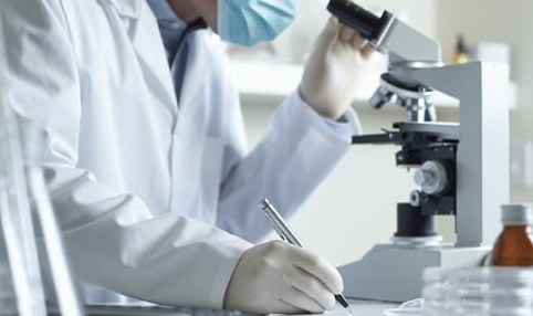 Stock image of a scientist looking in a microscope.
