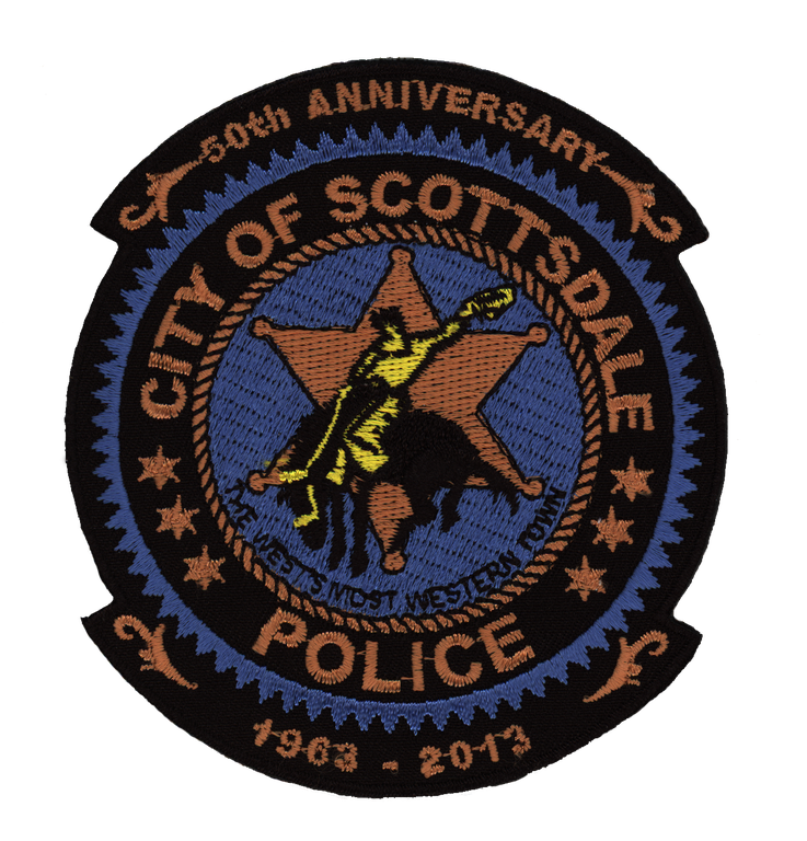 "Scottsdale, Arizona, ""The West's most western town,"" was founded in 1888 and incorporated as a city in 1951.The patch of the Scottsdale Police Department, with the bucking horse, celebrates the agency's 50th anniversary, which occurred in 2013. Established in 1963 with 47 full-time employees, the department now employs over 600 full-time personnel and 40 volunteers."