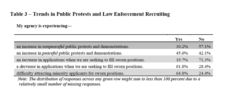Table 3 shows results of questions asked regarding agencies experiences with public protests and recruiting.