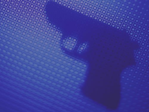Shadow of Gun on Patterned Background (Stock Image)